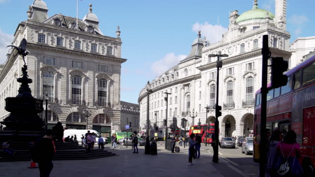 london piccadilly circus and regent street - double decker bus stock videos & royalty-free footage