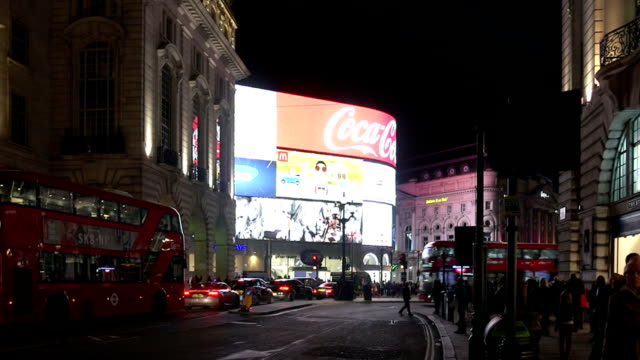 london piccadilly circus from regent street at night - piccadilly circus stock videos and b-roll footage