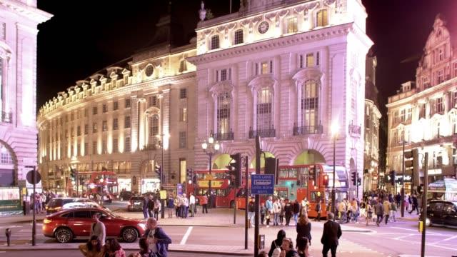 vídeos de stock, filmes e b-roll de london piccadilly circus night scene - picadilly