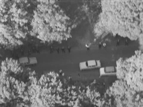 london police shooting: massive police hunt for 3rd man harry roberts; england: epping forest: ext police through trees r-l 2 uniformed and 3 plain... - footwear stock videos & royalty-free footage