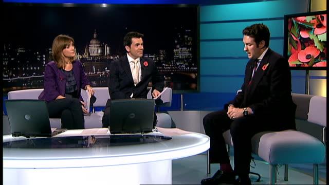 london poppy day england london gir int ben hancock live studio interview sot on sergeant major darren chant [british soldier killed in afghanistan]... - darren day stock videos & royalty-free footage