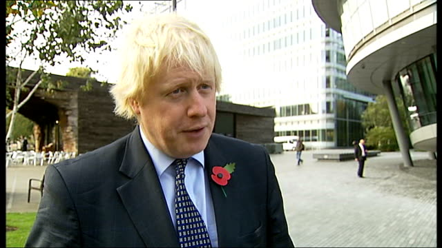 london poppy day launch and photocall boris johnson interview sot about launching about our poppy appeal / time to give for servicemen and remember... - newly industrialized country stock videos & royalty-free footage