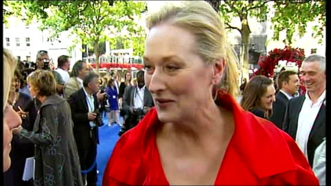 london premiere of film 'mamma mia'; england: london: leicester square: ext meryl streep live interview sot - on enthusiasm to be in film / on being... - premiere stock videos & royalty-free footage