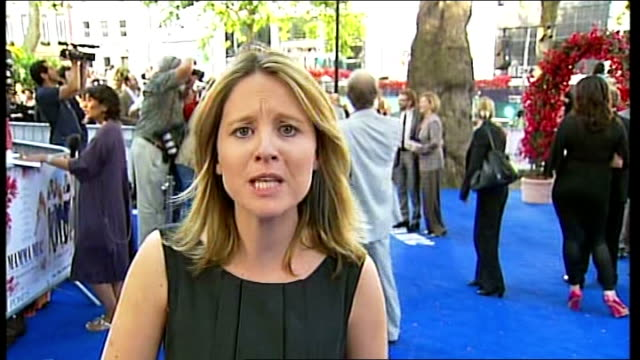london premiere of film 'mamma mia' leicester square ext reporter to camera live - mamma mia stock videos and b-roll footage