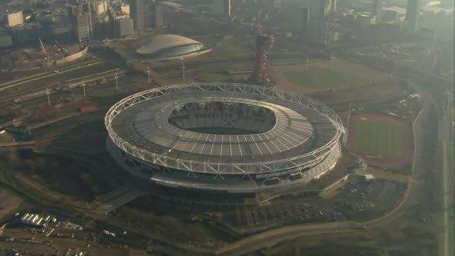 london prepares for world athletics championships; london prepares for world athletics championships; day air view / aerial olympic stadium and queen... - day stock videos & royalty-free footage