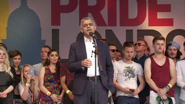 London Pride Trafalgar Square speeches ENGLAND London Trafalgar Square EXT Sadiq Khan speech SOT London is greatest city in world you make me proud...
