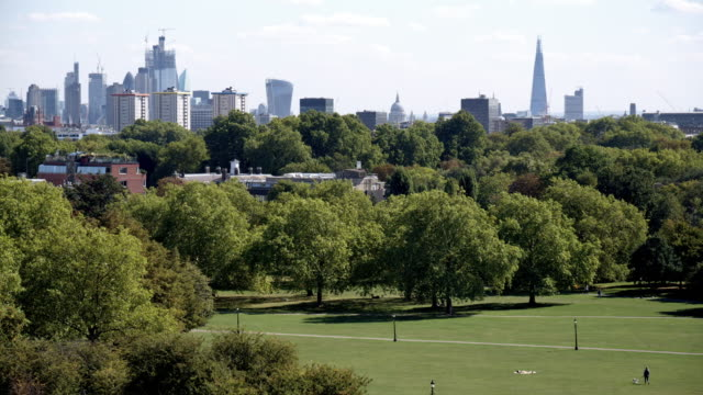 london primrose hill and urban skyline from the north - public park stock videos & royalty-free footage