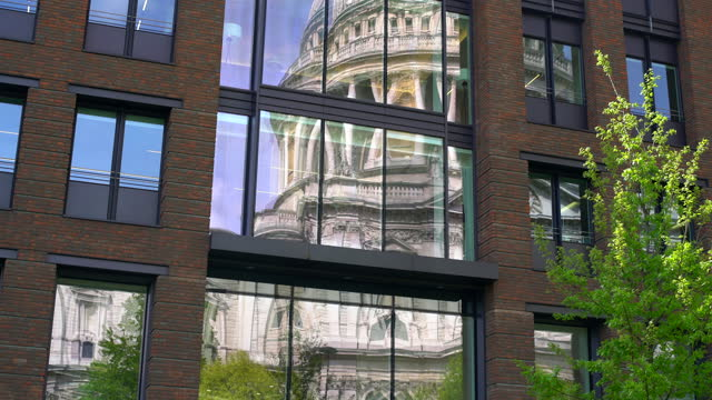 london, reflection of st. paul es cathedral - basilica stock videos & royalty-free footage