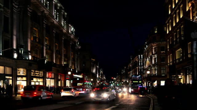 london regent street at night - west end london stock videos and b-roll footage