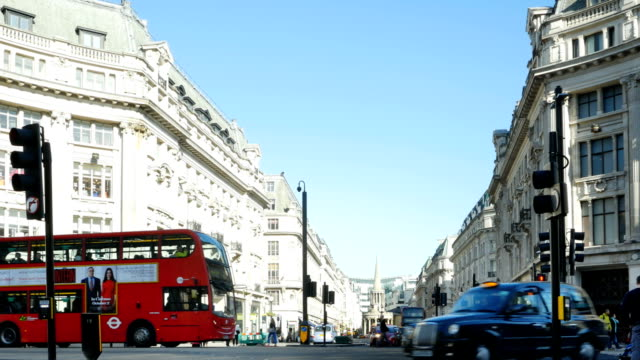 london regent street north end viewed from oxford circus - double decker bus stock videos & royalty-free footage