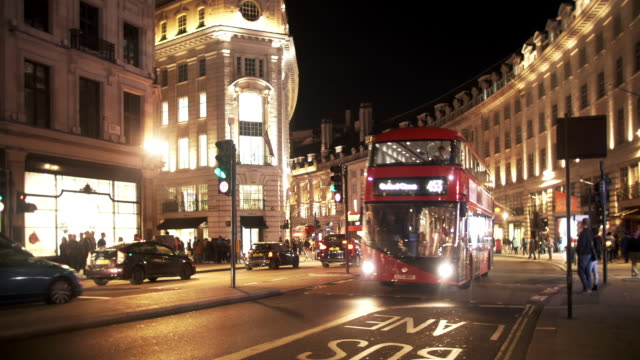 london regent street south end at night - south stock videos & royalty-free footage