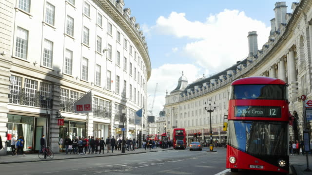 london regent street south end (uhd) - double decker bus stock videos & royalty-free footage