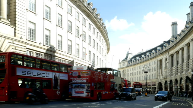 london regent street south end - double decker bus stock videos and b-roll footage