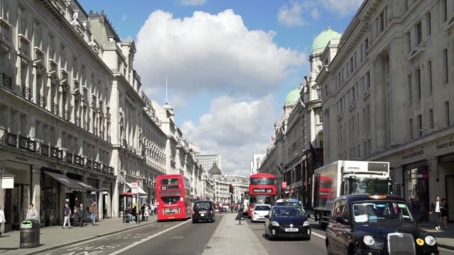 london regent street viewed to the north - west end london stock videos and b-roll footage