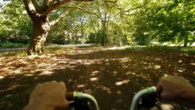 vídeos de stock, filmes e b-roll de seção norte do parque de londres regent do ponto de vista de ciclagem - parque regents