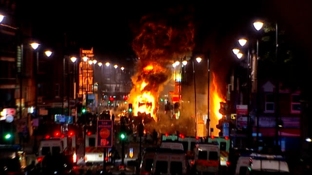 cost of policing riots estimated at 74 millions pounds t07081114 england london tottenham double decker bus on fire billowing black smoke and flames... - despair stock videos & royalty-free footage