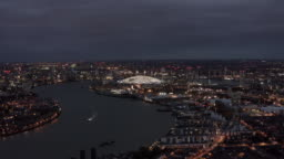 London Riverside Skyline Aerial Night View feat. River Thames and The O2 Arena