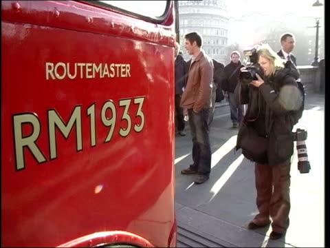 stockvideo's en b-roll-footage met heritage routes launched england london number 9 routemaster bus towards press london mayor ken livingstone posing for press at launch of heritage... - number 9