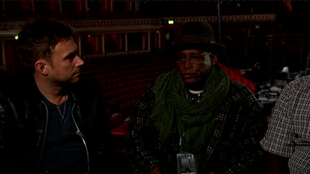 london royal albert hall int damon albarn interview sot there is a tendency to frame africa as this place that is constantly in need of our... - things that go together stock videos & royalty-free footage