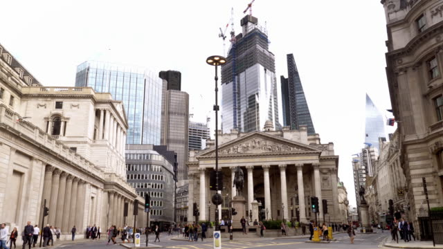 london royal exchange and bank junction - double decker bus stock videos & royalty-free footage