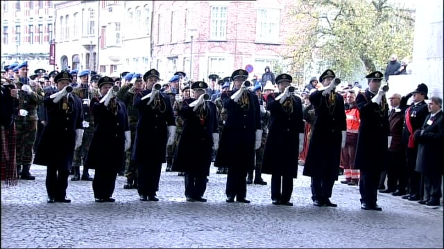 london schoolchildren honour war dead with duke of edinburgh belgium ypres ext buglers playing the last post at armistice day commemorations buglers... - armistice stock videos and b-roll footage