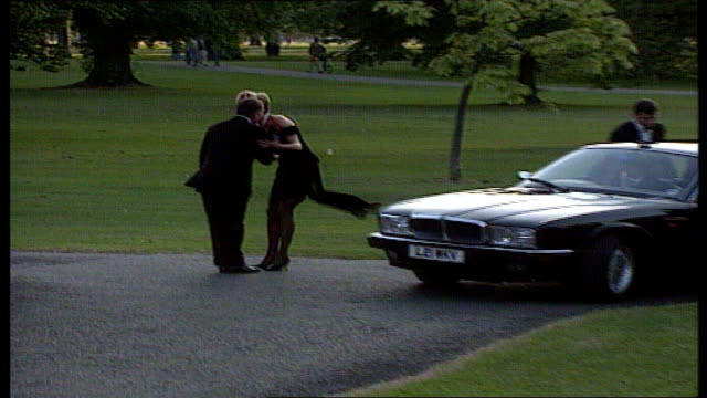 serpentine gallery diana along from car in black cocktail dress to greet peter palumbo - the serpentine gallery stock videos & royalty-free footage
