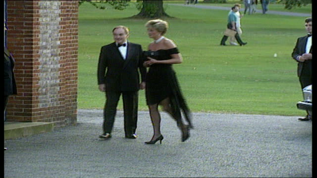 london serpentine gallery princess diana arriving at function wearing little black dress - the serpentine gallery stock videos & royalty-free footage