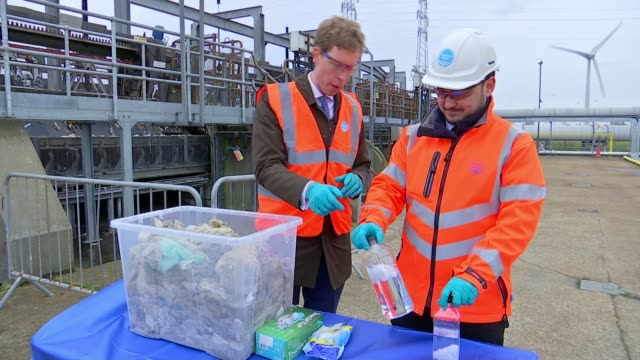 London sewers clogged up with wet wipes Water Treatment Works GVs Congealed wet wipes at treatment plant Sewage treatment worker demonstrating for...