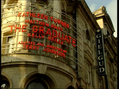 london shaftesbury avenue ext la lms gielgud theatre with lights turned out la ms lights turned out pan sign 'gielgud' bsp220500020 - john gielgud stock videos & royalty-free footage