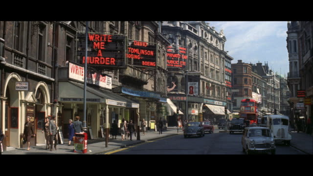 1962 london - shaftsbury avenue, theatre marquees - theatre building stock videos & royalty-free footage