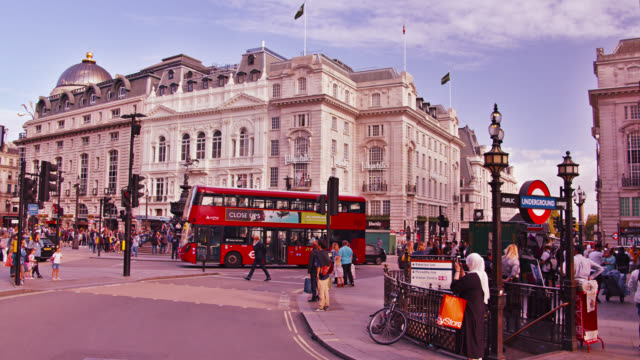 london. shopping area. touristic red bus. urban town square. - civilian stock videos & royalty-free footage