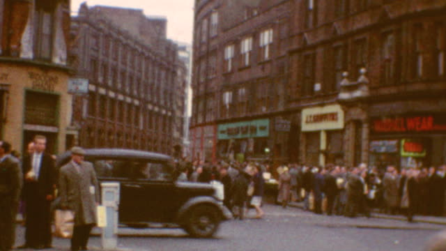 london shopping at liverpool and bishopsgate street / double decker bus / liverpool street on june 03 1962 in london england - liverpool england stock-videos und b-roll-filmmaterial