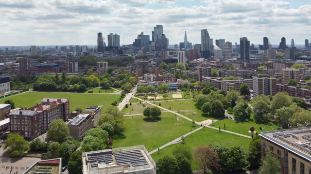 london, shoreditch park from a high angle viewpoint - 1940 stock videos & royalty-free footage
