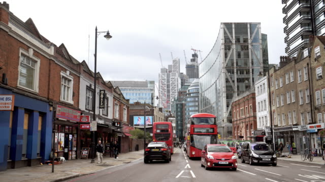 London Shoreditch South End and the City Skyscrapers