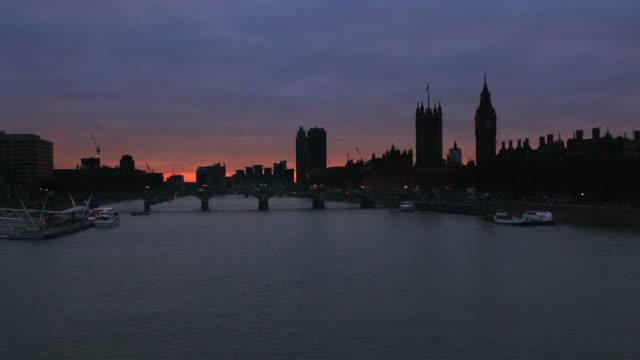 London skyline, dusk.