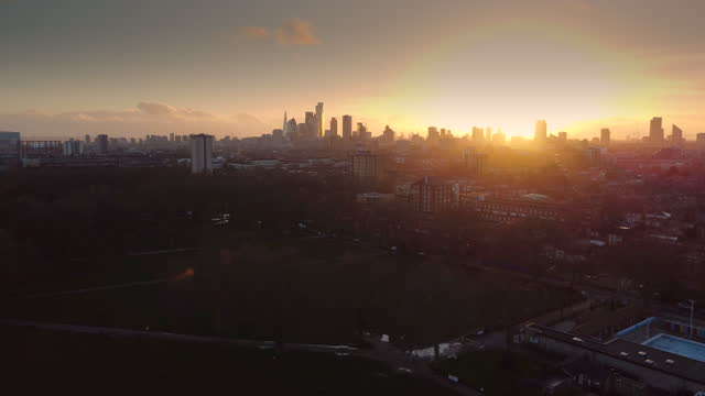 london skyline from a drone in winter - drone point of view stock videos & royalty-free footage