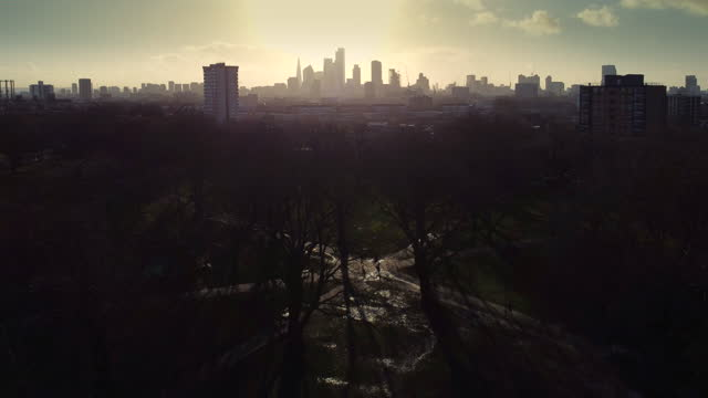 london skyline from a drone in winter - winter stock videos & royalty-free footage