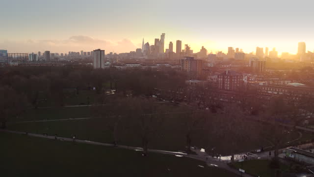 london skyline from a drone in winter - hackney stock videos & royalty-free footage
