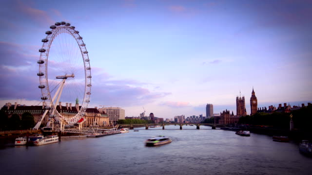 london skyline - millennium wheel stock videos & royalty-free footage