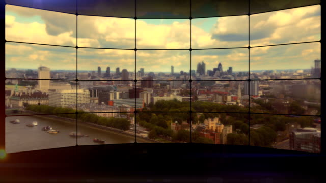 london skyline video wall. hd - video wall stock videos & royalty-free footage