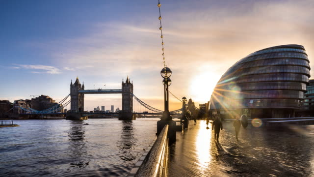 london skyline with tower bridge and city hall, tl, zi - tower bridge stock videos & royalty-free footage
