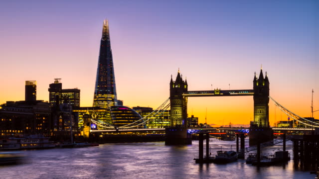 london skyline with tower bridge and the shard at night, tl, ws - tower bridge stock videos & royalty-free footage