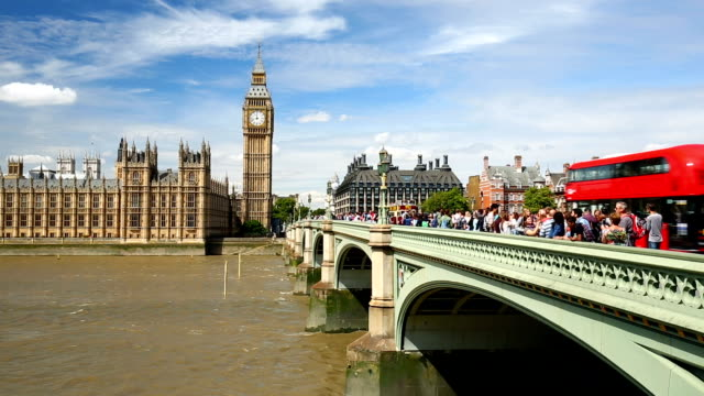 london skyline with westminster bridge - westminster bridge stock videos and b-roll footage