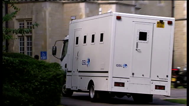 snaresbrook crown court: ext security van arriving at court hoxton: macbeth pub reporter to camer - fielder stock videos & royalty-free footage