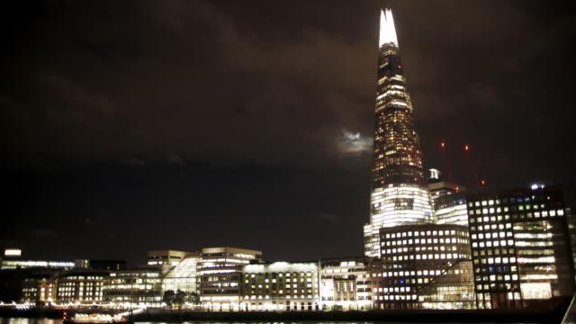 london south bank and the shard at night - shard london bridge stock videos & royalty-free footage