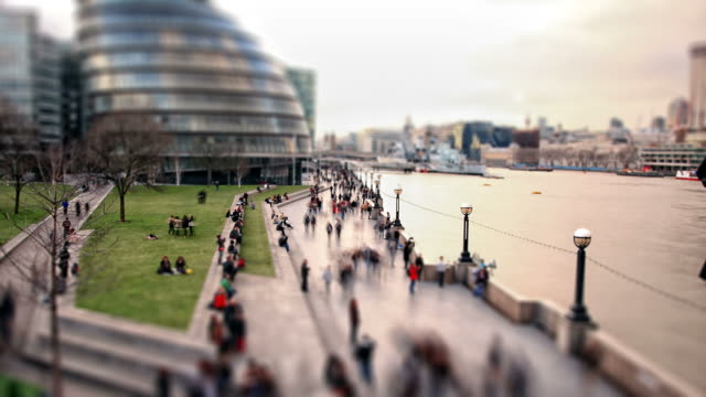 london south bank pedestrians time-lapse cross processed hd video - tilt shift stock videos and b-roll footage