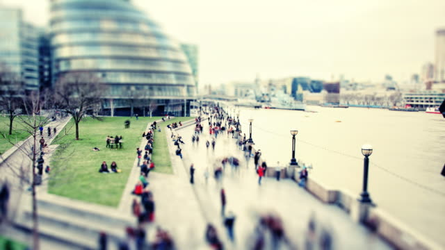London South Bank pedestrians time-lapse cross processed HD video