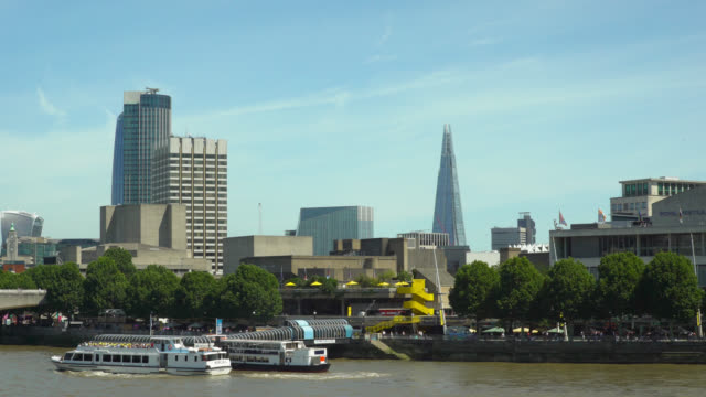 ws london south bank under clear blue sky - queen elizabeth hall stock videos and b-roll footage