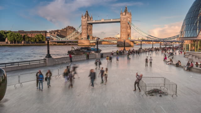 london southbank and tower bridge time lapse - tourism stock videos & royalty-free footage
