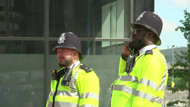 London sporting highlights of 2017 TX EXT Various of armed police on patrol outside Wmebley Stadium ahead of FA Cup final/ London EXT Leyton Orient...